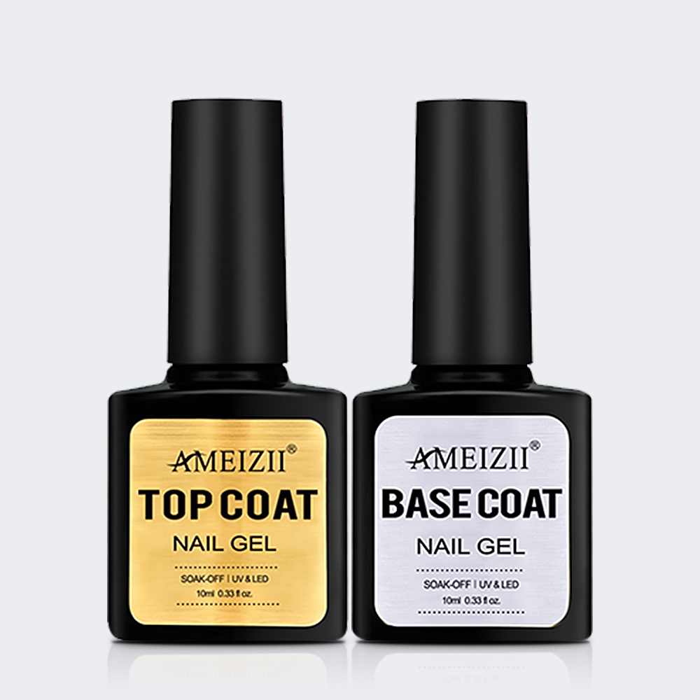 AMEIZII Nail Gel Top ba<x>se Coat Soak Off UV LED Nail Polis